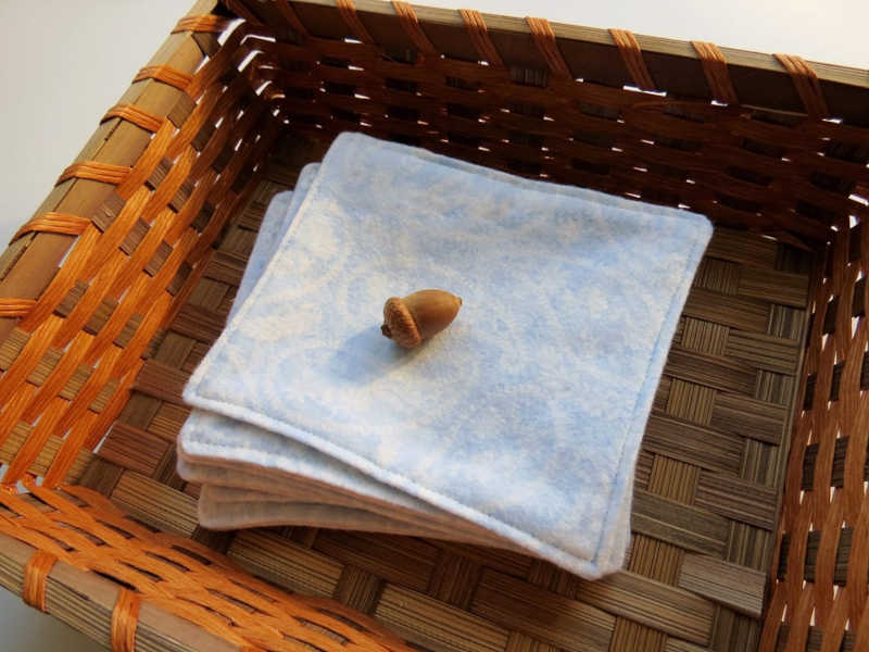 Reusable toilet cloth wipes in a basket